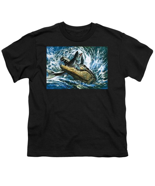 Alligator Eating Fish Youth T-Shirt by English School