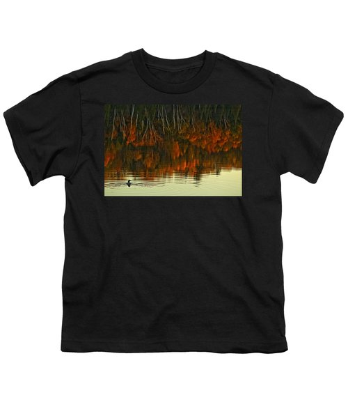 Loon In Opeongo Lake With Reflection Youth T-Shirt by Robert Postma