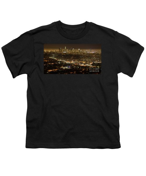 Los Angeles  City View At Night  Youth T-Shirt by Bob Christopher