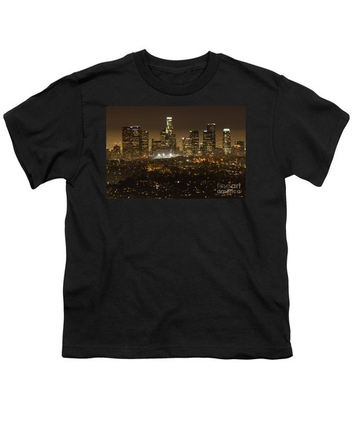 Los Angeles Skyline At Night Youth T-Shirt by Bob Christopher