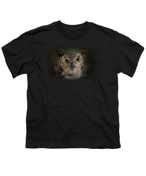 Great Horned Owl Youth T-Shirt by Jai Johnson