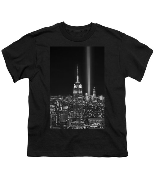 New York City Tribute In Lights Empire State Building Manhattan At Night Nyc Youth T-Shirt by Jon Holiday