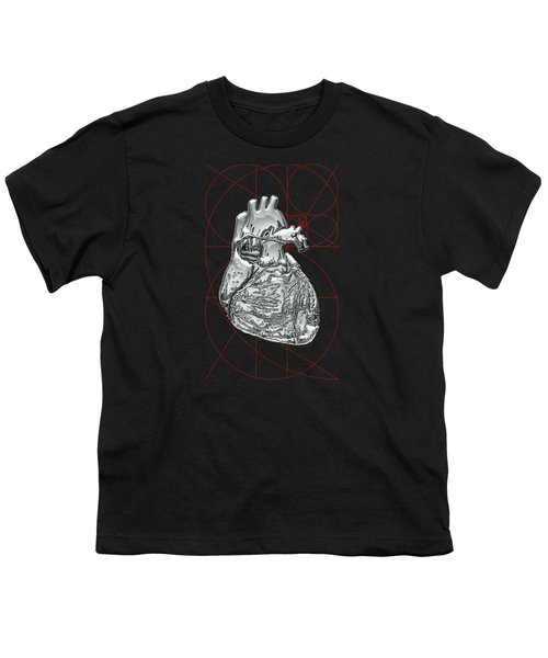 Silver Human Heart On Black Canvas Youth T-Shirt by Serge Averbukh