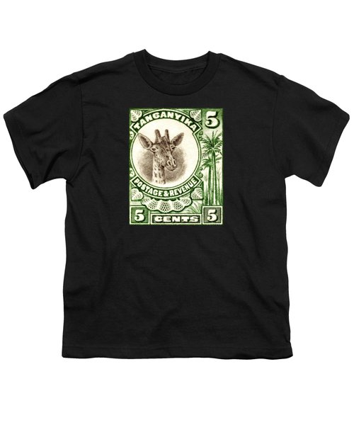 1922 East African Giraffe Stamp Youth T-Shirt by Historic Image