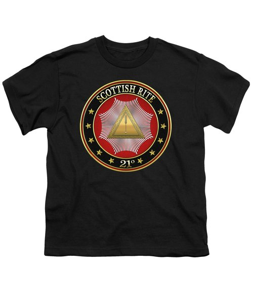 21st Degree -  Noachite Or Prussian Knight Jewel On Black Leather Youth T-Shirt by Serge Averbukh
