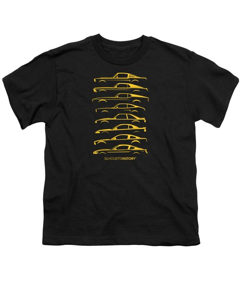 Ford Mustang Silhouettehistory Youth T-Shirt by Gabor Vida