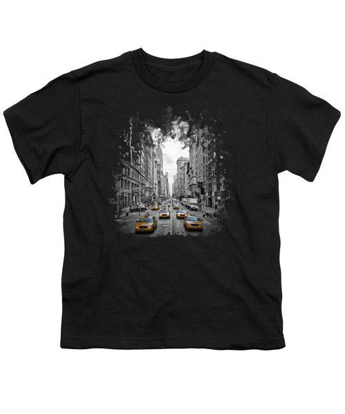 5th Avenue Yellow Cabs Youth T-Shirt by Melanie Viola