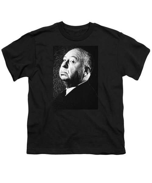 Alfred Hitchcock Youth T-Shirt by Taylan Apukovska
