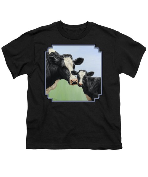 Holstein Cow And Calf Youth T-Shirt by Crista Forest