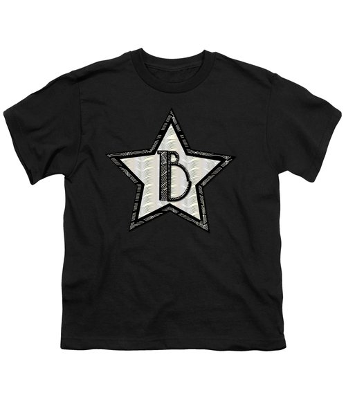 Star Of The Show Art Deco Style Letter B Youth T-Shirt by Cecely Bloom