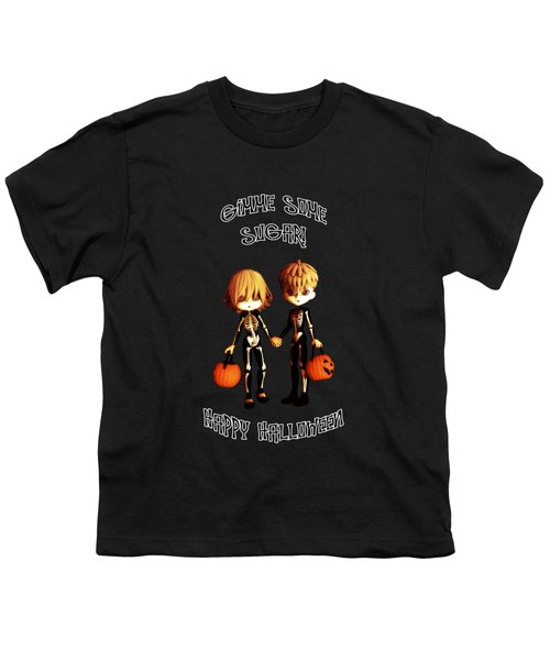 Skeleton Twinz Halloween Youth T-Shirt by Methune Hively
