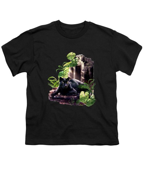 Black Panther Custodian Of Ancient Temple Ruins  Youth T-Shirt by Regina Femrite