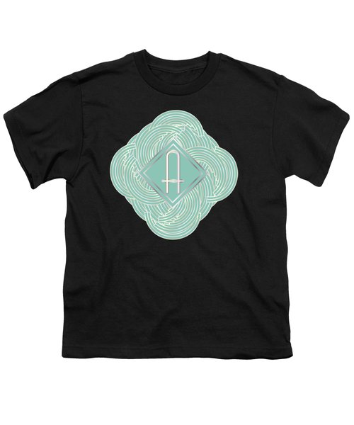 1920s Blue Deco Jazz Swing Monogram ...letter A Youth T-Shirt by Cecely Bloom