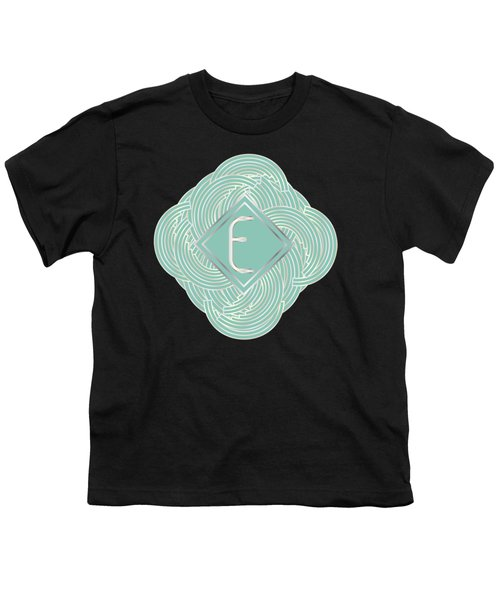 1920s Blue Deco Jazz Swing Monogram ...letter E Youth T-Shirt by Cecely Bloom