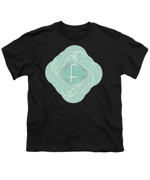 1920s Blue Deco Jazz Swing Monogram ...letter F Youth T-Shirt by Cecely Bloom