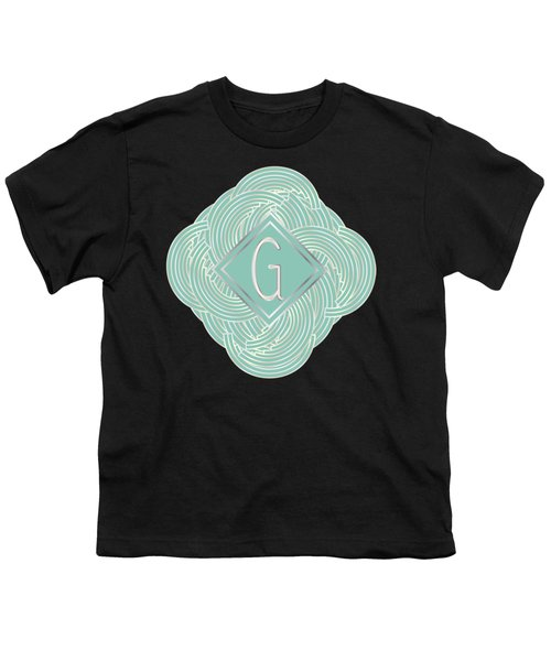1920s Blue Deco Jazz Swing Monogram ...letter G Youth T-Shirt by Cecely Bloom