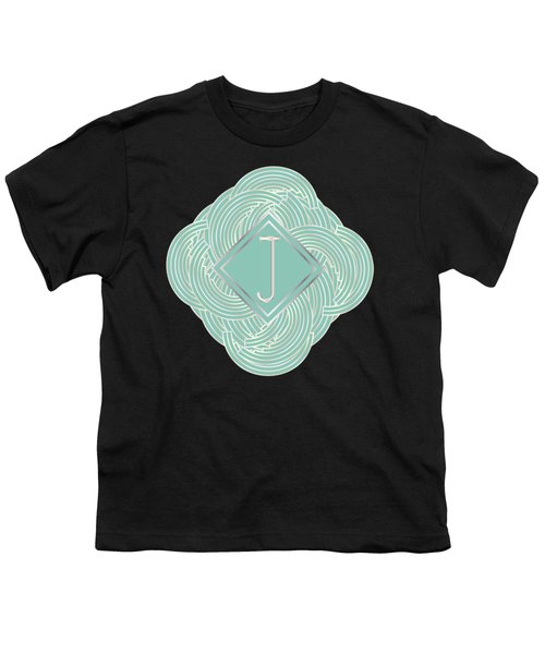 1920s Blue Deco Jazz Swing Monogram ...letter J Youth T-Shirt by Cecely Bloom