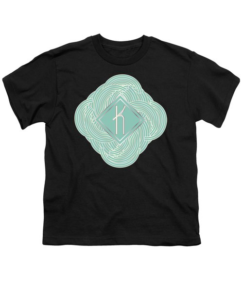 1920s Blue Deco Jazz Swing Monogram ...letter K Youth T-Shirt by Cecely Bloom