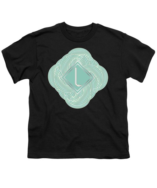1920s Blue Deco Jazz Swing Monogram ...letter L Youth T-Shirt by Cecely Bloom