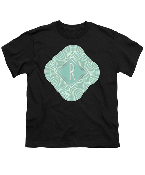 1920s Blue Deco Jazz Swing Monogram ...letter R Youth T-Shirt by Cecely Bloom