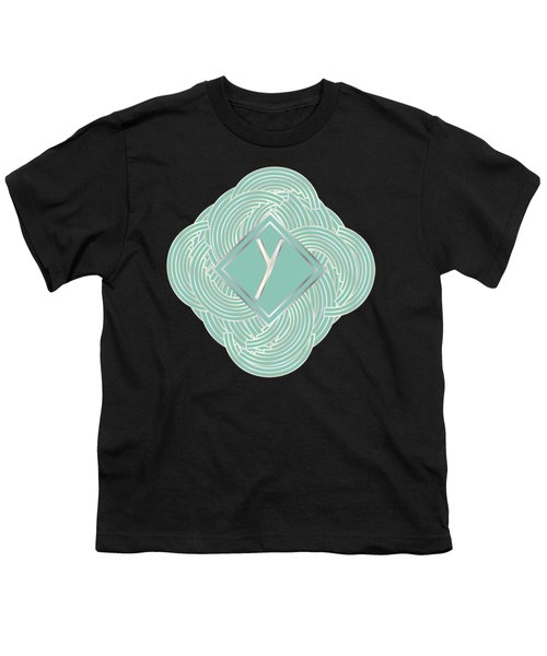 1920s Blue Deco Jazz Swing Monogram ...letter Y Youth T-Shirt by Cecely Bloom