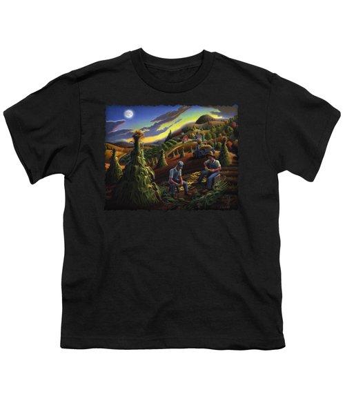 Autumn Farmers Shucking Corn Appalachian Rural Farm Country Harvesting Landscape - Harvest Folk Art Youth T-Shirt by Walt Curlee