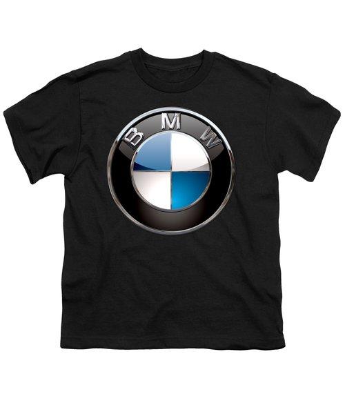B M W - 3d Badge On Black Youth T-Shirt by Serge Averbukh