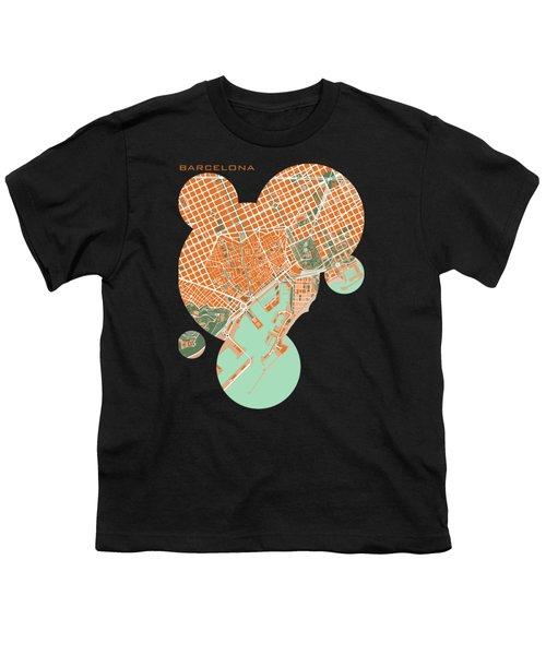 Barcelona Orange Youth T-Shirt by Jasone Ayerbe- Javier R Recco