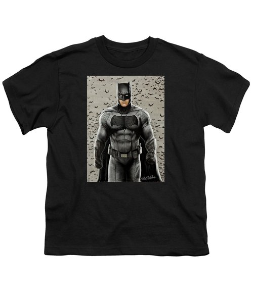 Batman Ben Affleck Youth T-Shirt by David Dias