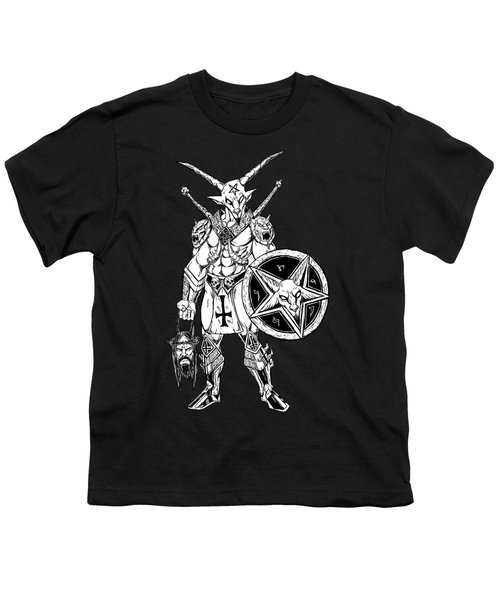 Battle Goat Black Youth T-Shirt by Alaric Barca