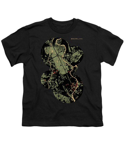 Berlin Engraving Map Youth T-Shirt by Jasone Ayerbe- Javier R Recco