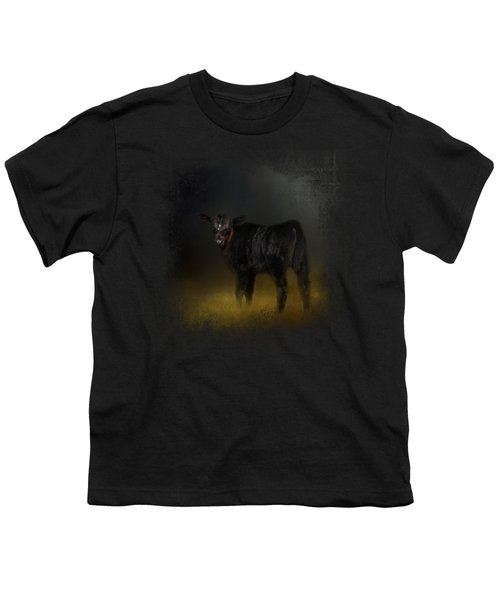 Black Angus Calf In The Moonlight Youth T-Shirt by Jai Johnson