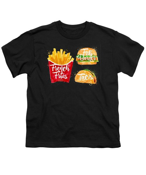 Black French Fries Youth T-Shirt by Aloke Design