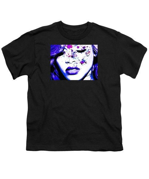 Blue Rihanna Youth T-Shirt by Alex Antoine