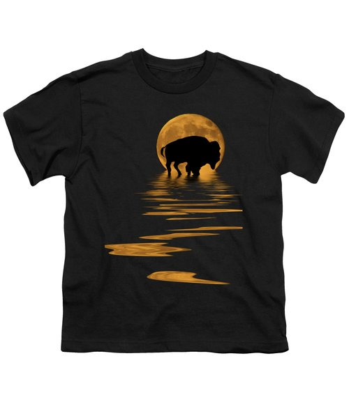 Buffalo In The Moonlight Youth T-Shirt by Shane Bechler