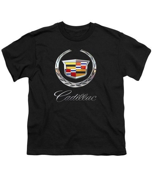 Cadillac - 3d Badge On Black Youth T-Shirt by Serge Averbukh