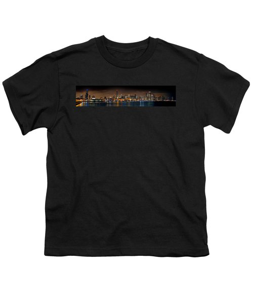 Chicago Skyline At Night Extra Wide Panorama Youth T-Shirt by Jon Holiday
