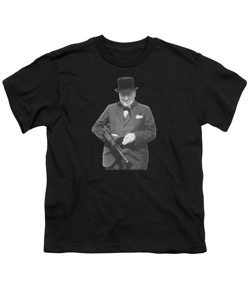 Churchill Posing With A Tommy Gun Youth T-Shirt by War Is Hell Store