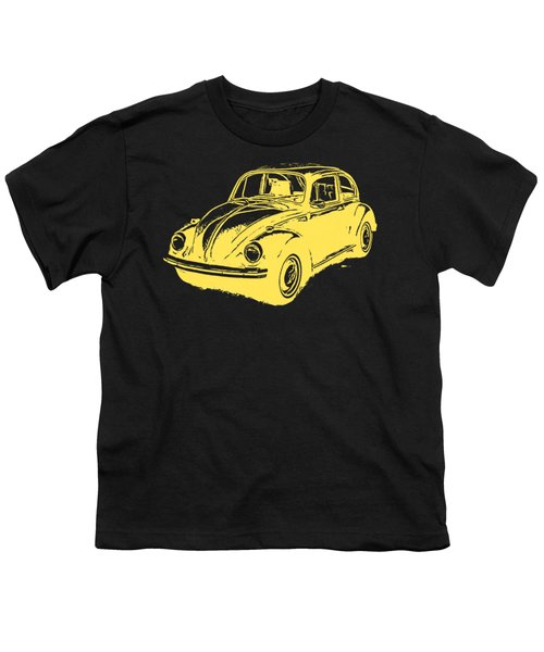 Classic Vw Beetle Tee Yellow Ink Youth T-Shirt by Edward Fielding