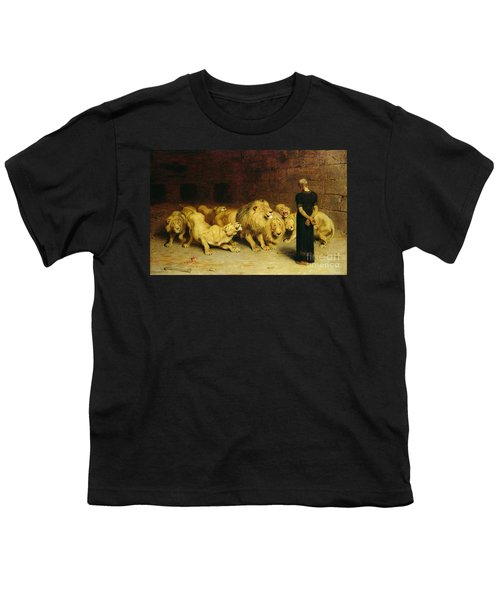 Daniel In The Lions Den Youth T-Shirt by Briton Riviere
