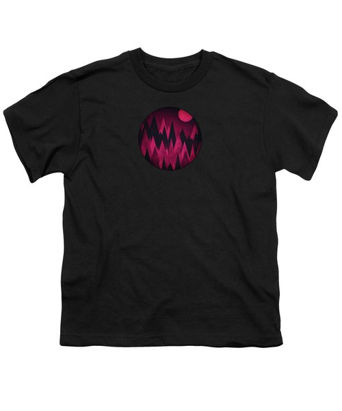 Dark Triangles - Peak Woods Abstract Grunge Mountains Design In Red Black Youth T-Shirt by Philipp Rietz