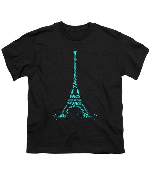 Digital-art Eiffel Tower Cyan Youth T-Shirt by Melanie Viola