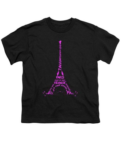 Digital-art Eiffel Tower Pink Youth T-Shirt by Melanie Viola