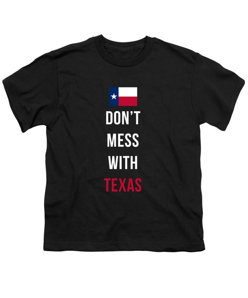 Don't Mess With Texas Tee Black Youth T-Shirt by Edward Fielding