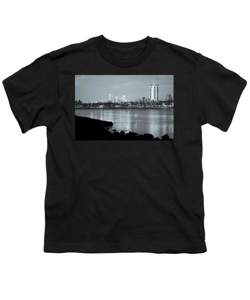 Downtown Tulsa Oklahoma - University Tower View - Black And White Youth T-Shirt by Gregory Ballos