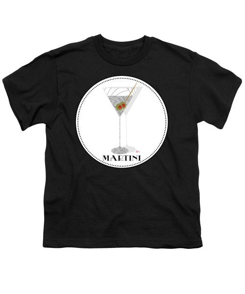 Dry Martini Cocktail Pop Art Deco Youth T-Shirt by Cecely Bloom