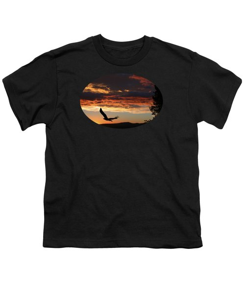 Eagle At Sunset Youth T-Shirt by Shane Bechler