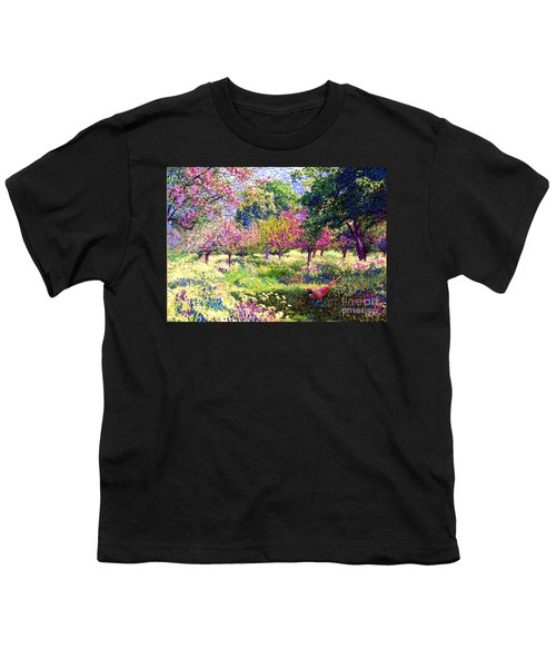 Echoes From Heaven, Spring Orchard Blossom And Pheasant Youth T-Shirt by Jane Small