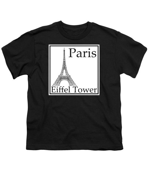 Eiffel Tower In White Youth T-Shirt by Custom Home Fashions