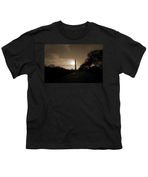 Evening Washington Monument Silhouette Youth T-Shirt by Betsy Knapp